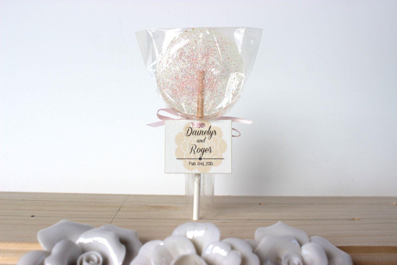 Champagne Wedding Favor Lollipops, Peach Toned Edible Glitter ...