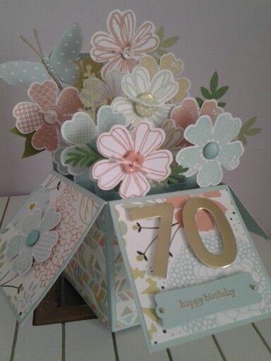 Pin By Joeleen Bettini On My Cards 70th Birthday Card Pinterest Birthday Cards Exploding Box Card