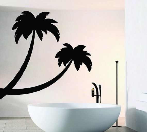 Two Palms Bathroom Wall Decal Vinyl Sticker Wall door CozyDecal, $14.99
