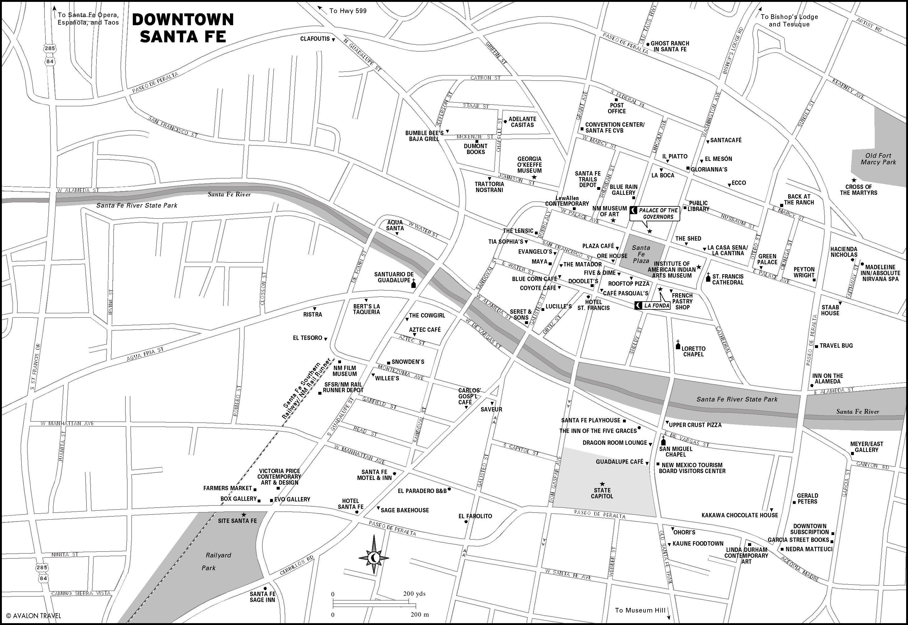 Downtown Santa Fe New Mexico Map