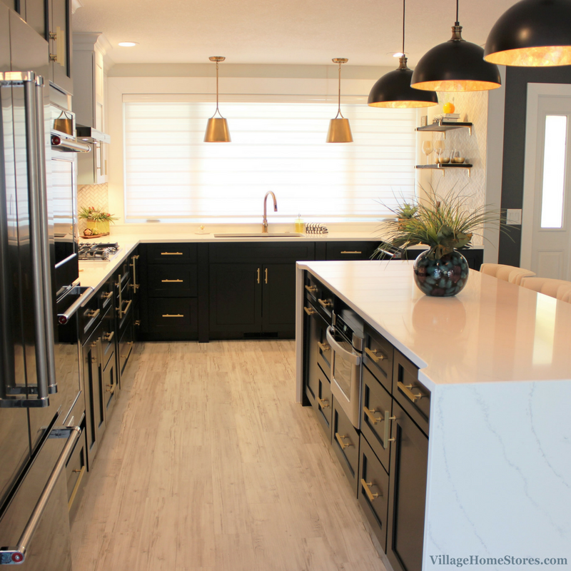 quad cities black white and gold kitchen remodel -village