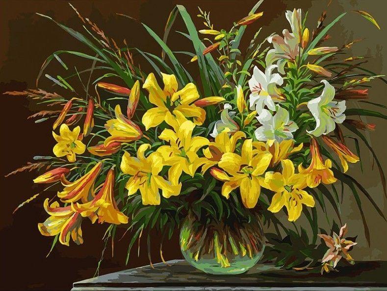133-AS Золотая лилия - раскраска (Белоснежка) | Цветочные ...