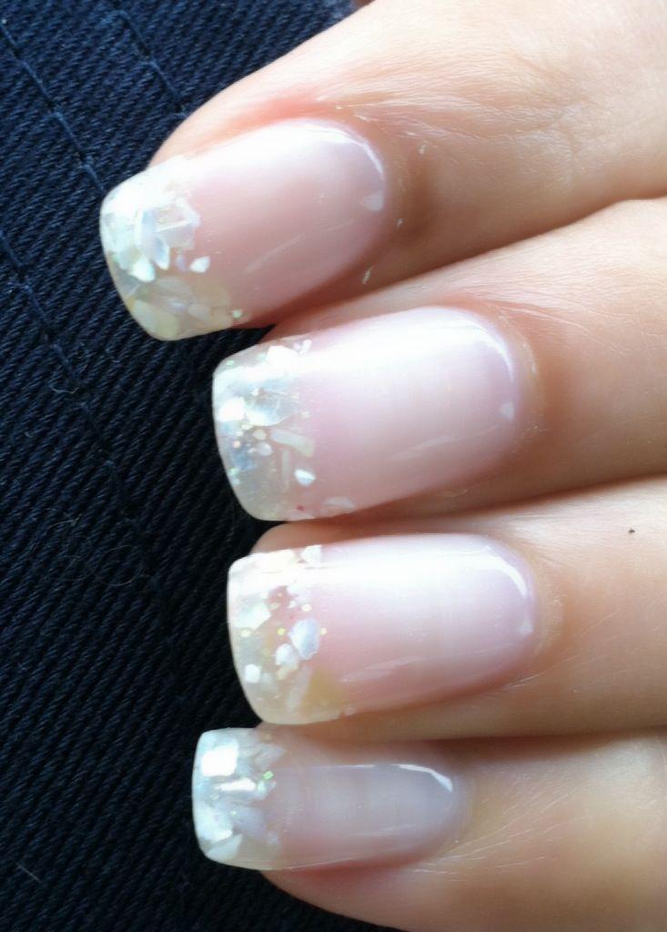 White Seashell And Gel Nails By Amy Maria S Nails Orlando Classy Elegant Elegant Nails Nails Trendy Nails