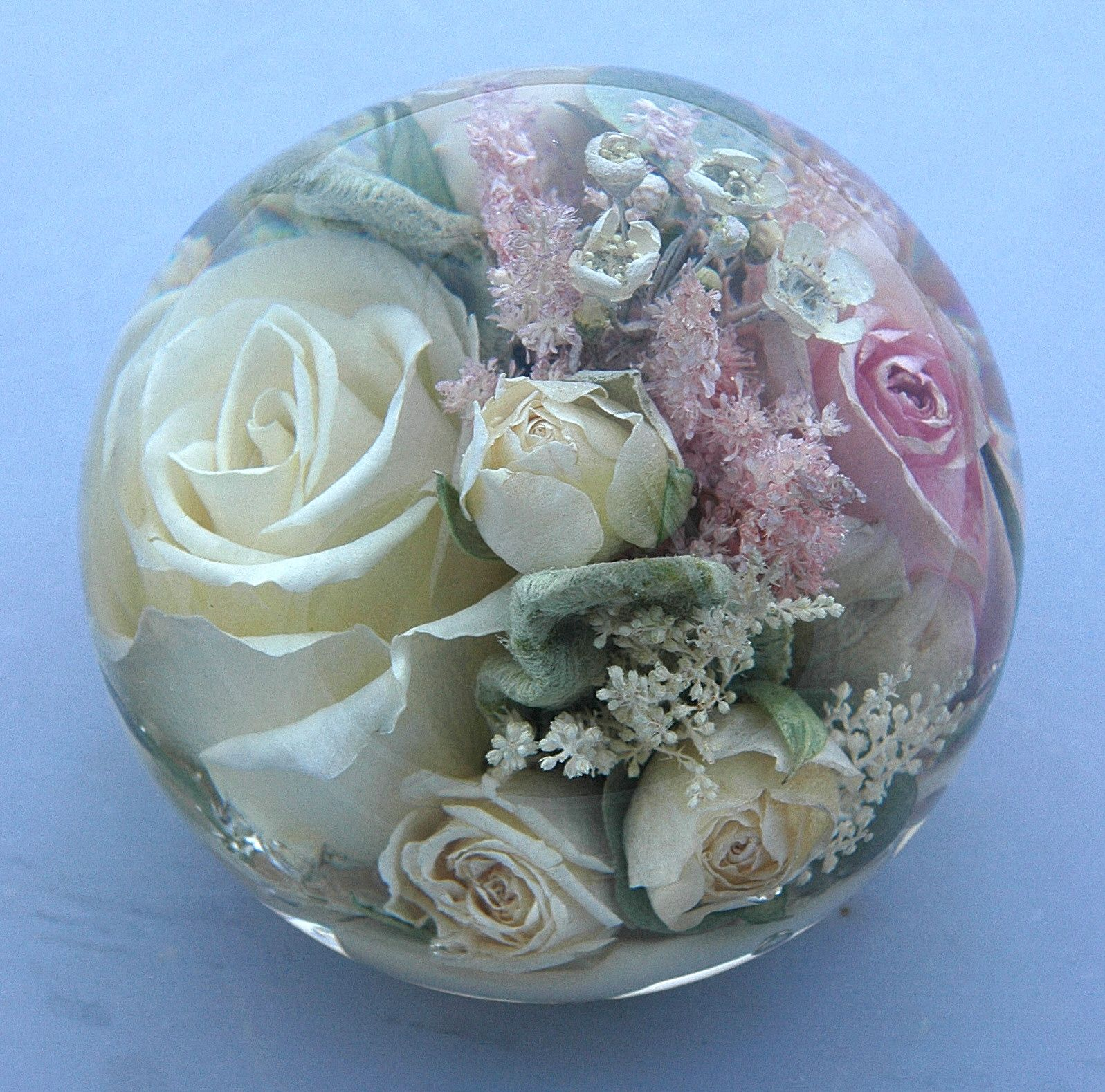Sumptuous Flowers Preserved Forever In A Lovely Flower Paperweight