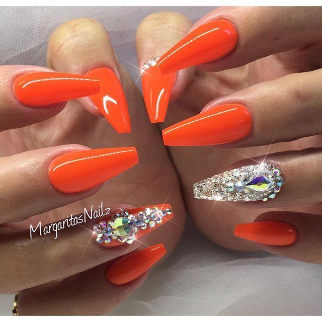 Tangerine Orange Acrylic Nails Orange Nails Neon Orange Nails