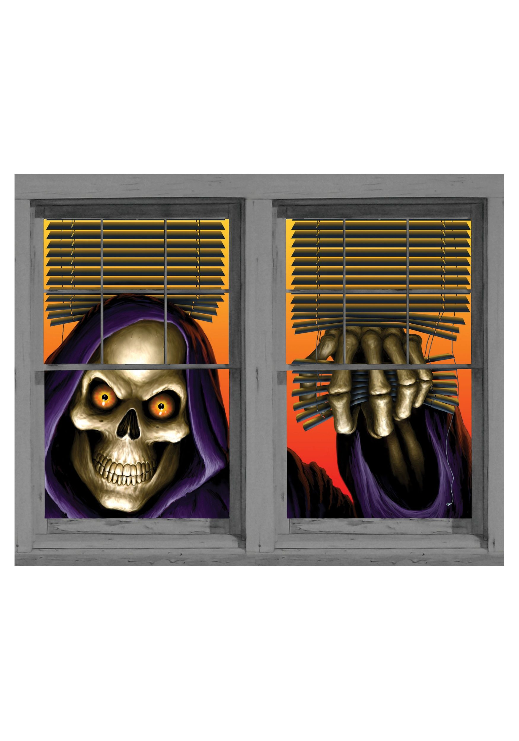 Grim Reaper Double Window Cling Halloween Party! Pinterest - Window Halloween Decorations