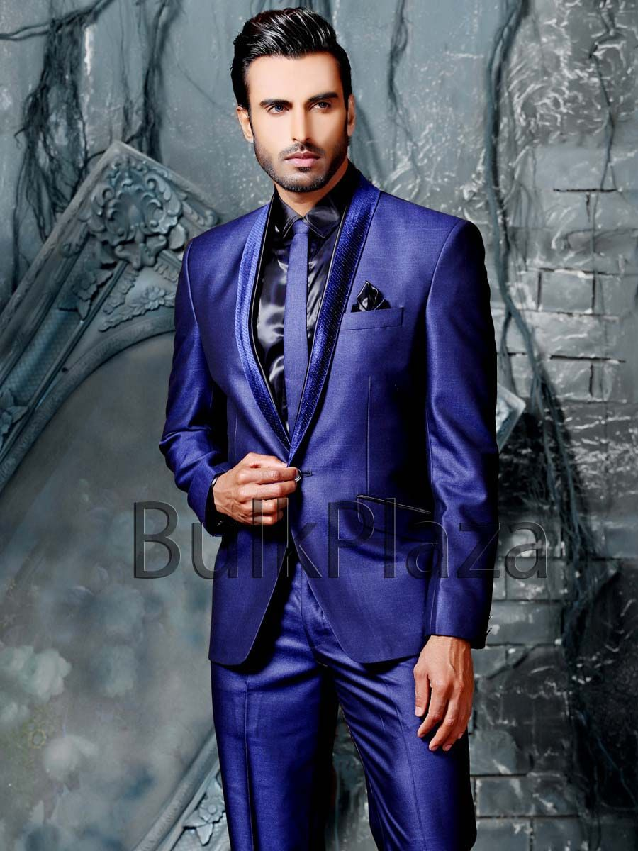 Charming royal blue color silk blazer having velvet lapel and one  ...