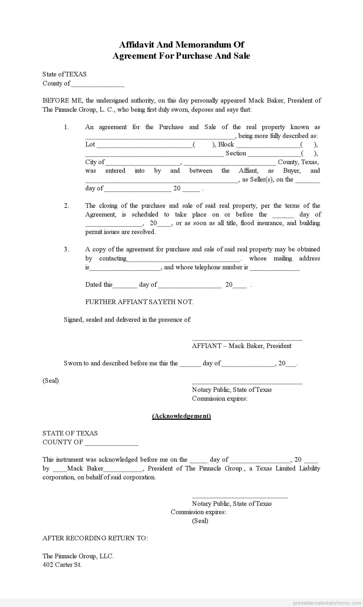 Sample Printable affidavit of memorandum for purchase and sale 2 – Agreement to Purchase Real Estate Form Free