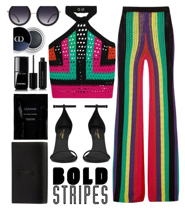 """""""Stripes"""" by melaniemeran ❤ liked on Polyvore featuring Balmain, Yves Saint Laurent, Chanel, Cleanse by Lauren Napier, Marc Jacobs and Alice + Olivia"""