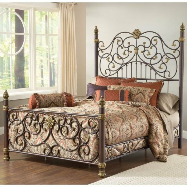 wrought iron bed frame king with vintage damask fabric for diy duvet cover and bolster pillow - Wrought Iron Bed Frame King
