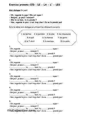 Pronoms COD | Exercice math cm2, Classe de mots et Complément d'objet