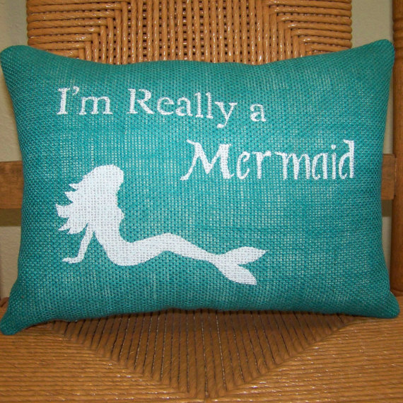 I'm Really a Mermaid pillow Mermaid Burlap by KelleysCollections