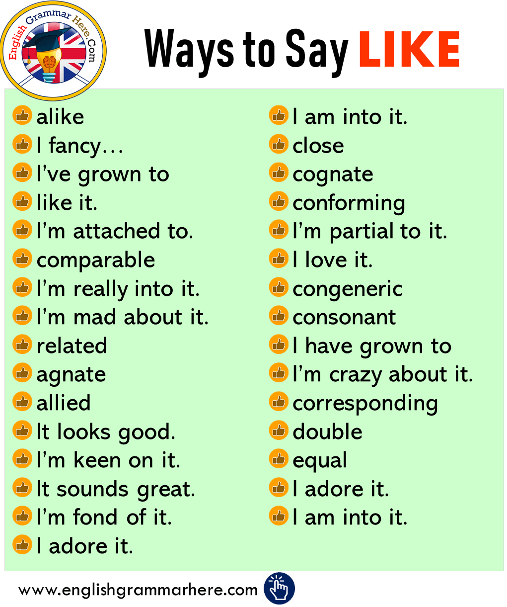 Different Ways To Say LIKE In English   English writing skills ...