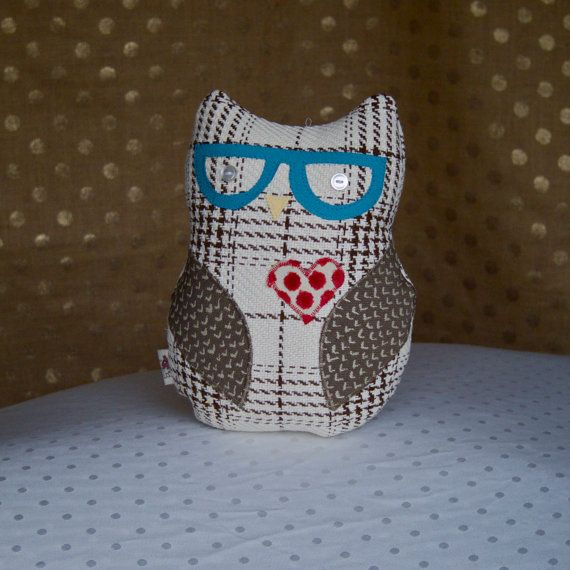 One-of-A-Kind Plaid Nerd Owl Plush Pillow - Hipster Owl Small on Etsy, $30.00