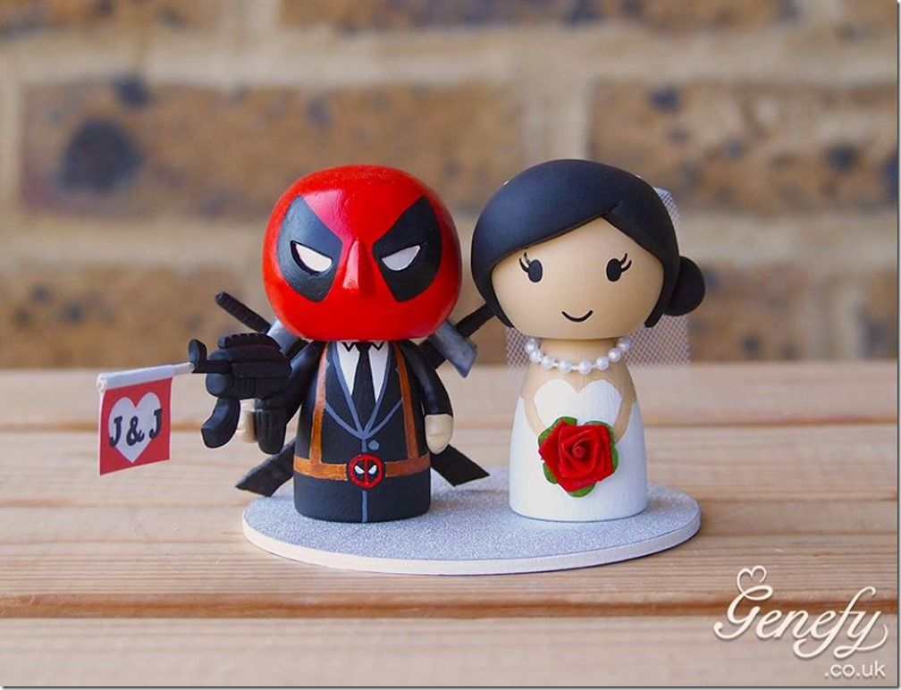 Adorable Deadpool Wedding Cake Topper   Cakes   Favors   Pinterest     Adorable Deadpool Wedding Cake Topper made by Genefy Playground