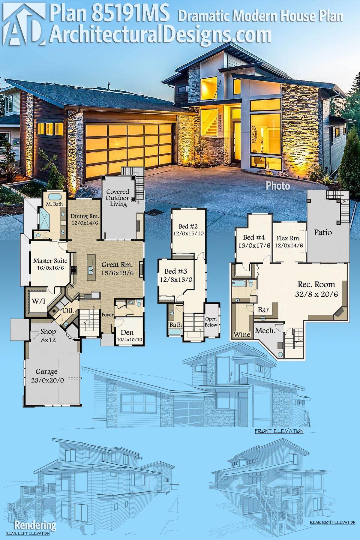 Plan ms dramatic modern house plan house pinterest house