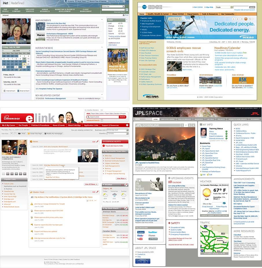 Sharepoint site design ideas - Homepages Of 4 Intranet Design Annual Winners Top Row Huron Consulting Group And Enbridge Sharepoint
