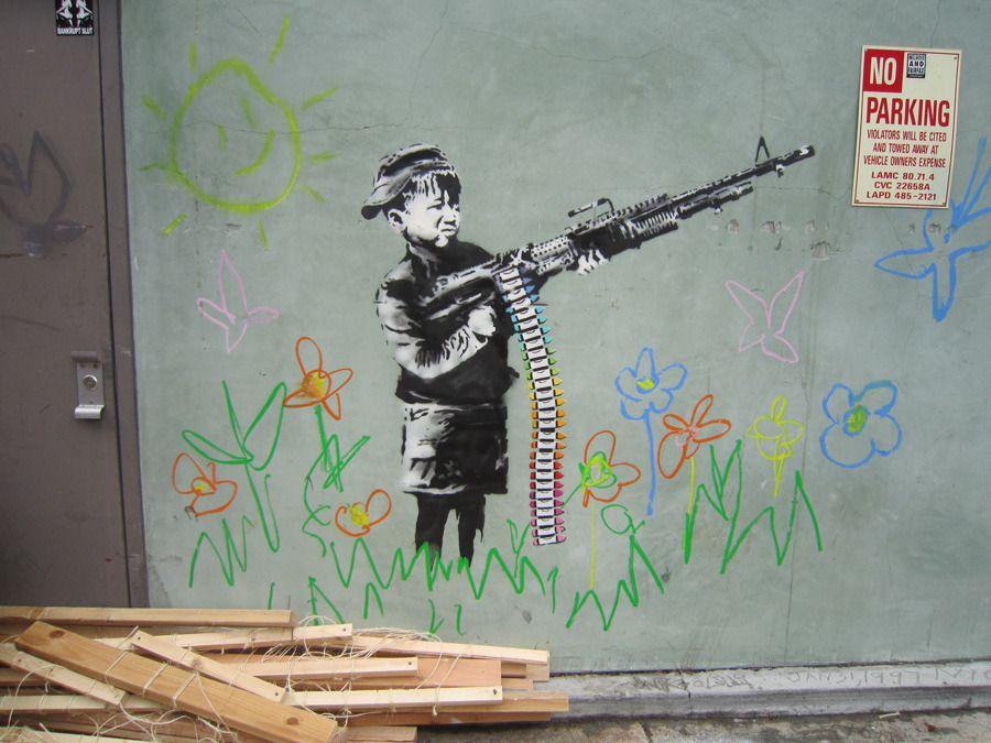 Banksy. Los Angeles. 'Crayon Shooter'