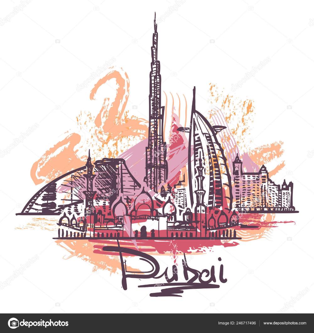Vector Dubai Sketch Dubai Abstract Color Drawing Dubai In 2020 Colorful Drawings Abstract Camels Art