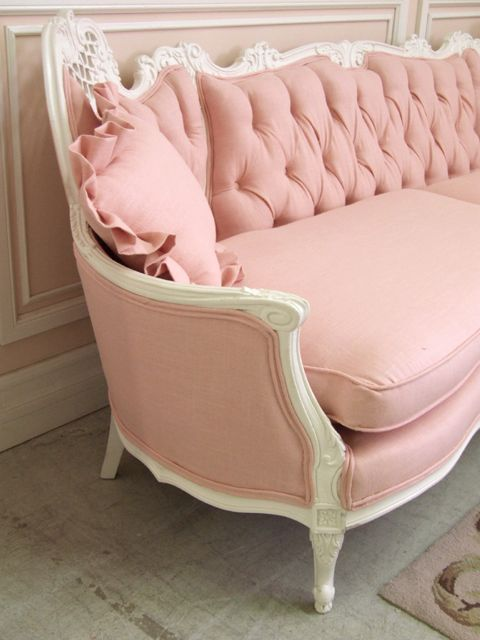 Sold 6018 Shabby Vintage French Style Pink Linen Couch 1595 The Bella Co Pink Sofa Pink Couch Shabby Chic