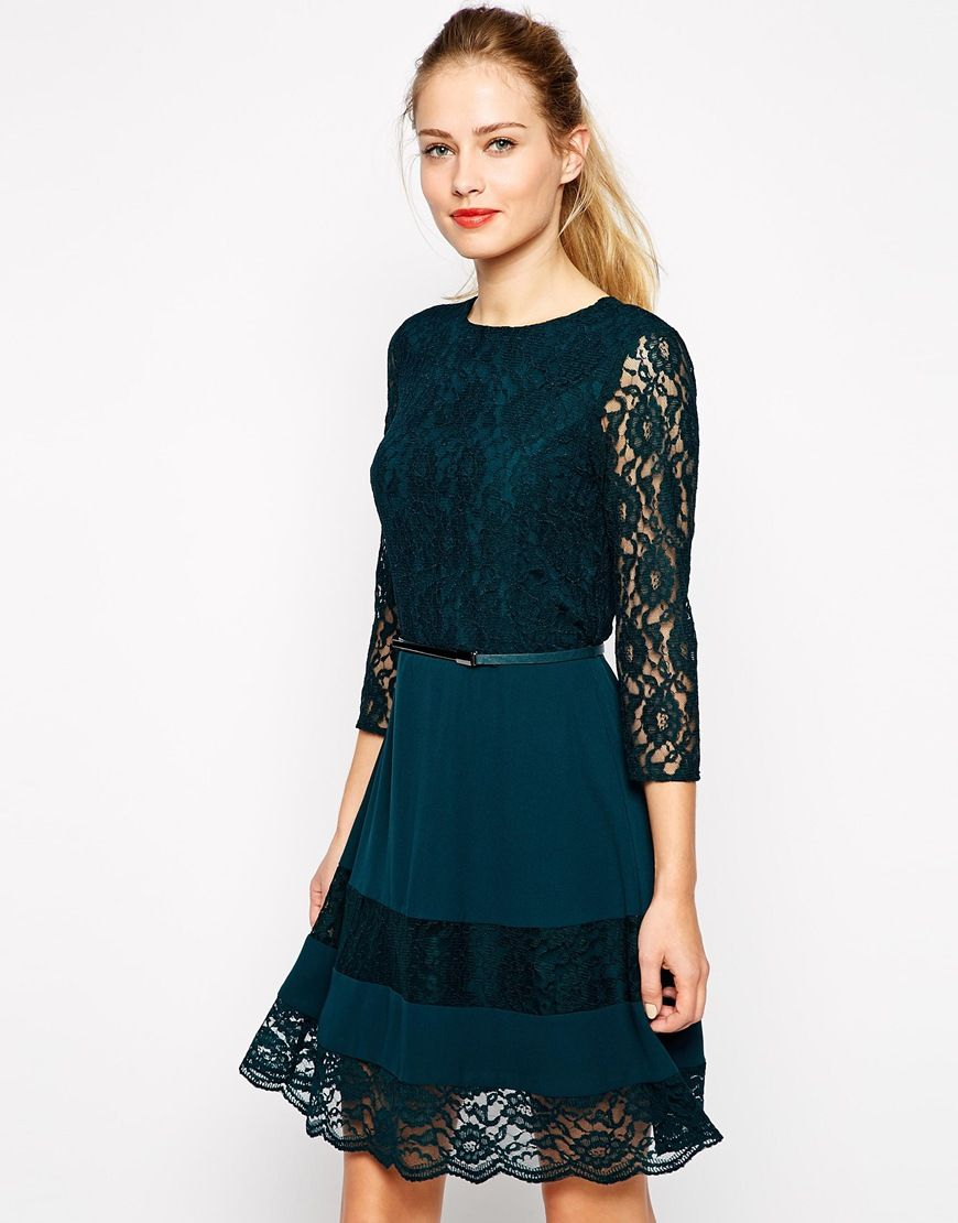 Oasis lace dress green