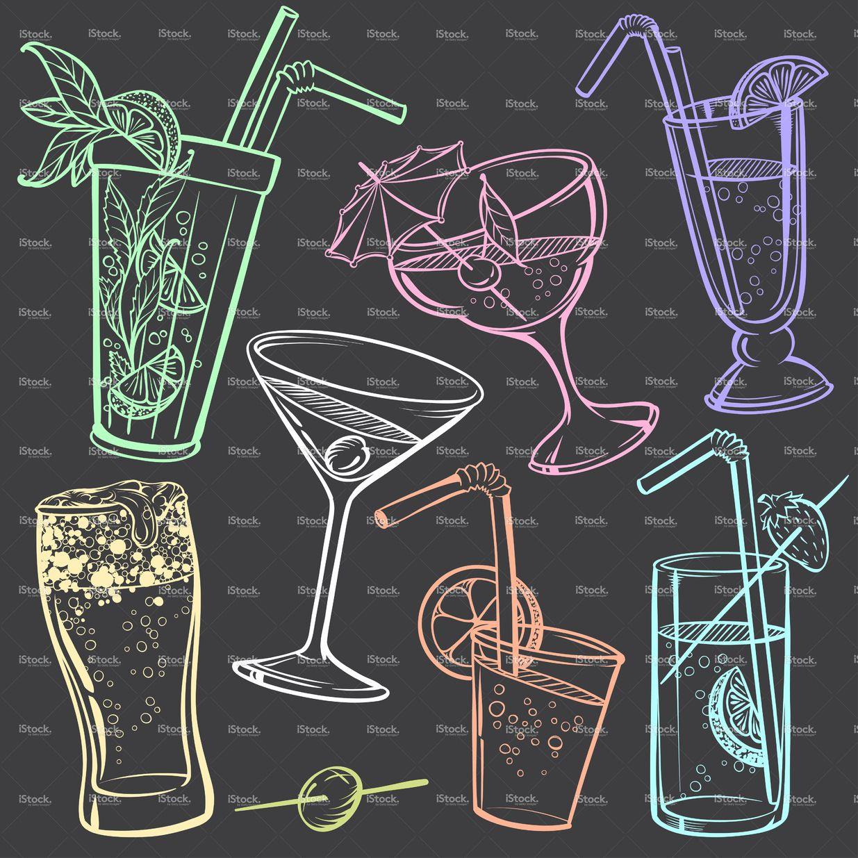 Mão de desenho de giz de bebidas a bordo vetor e ilustração royalty-free 45428064 - iStock