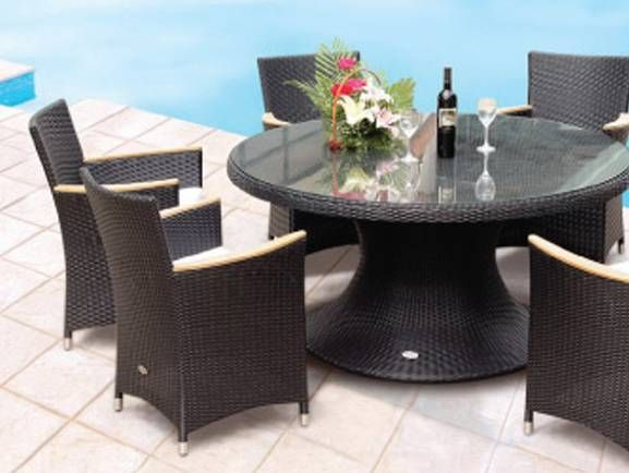 All Weather Wicker Round Dining Table For A Sophisticated Evening On The  Patio.