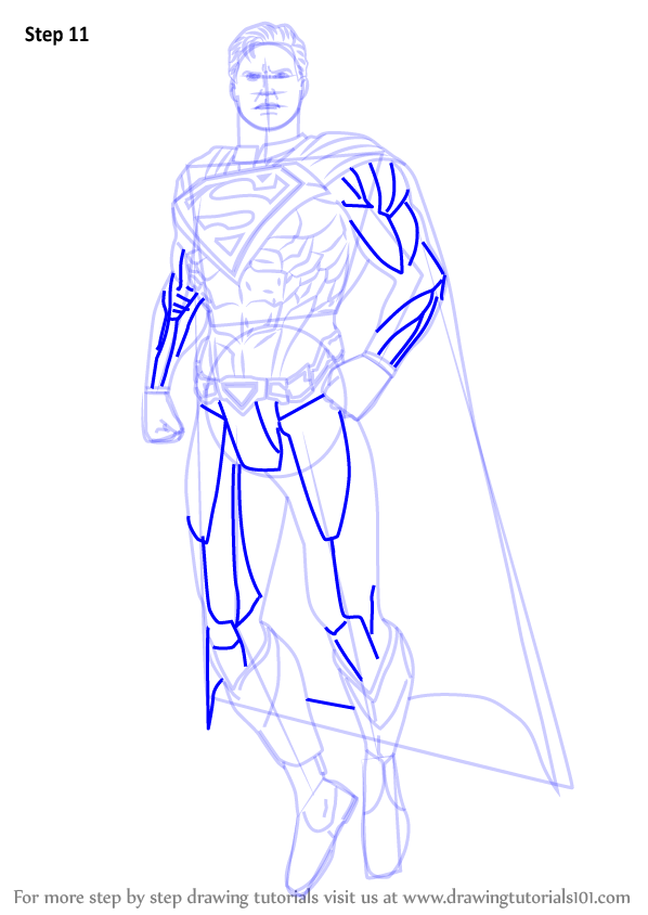 Learn How To Draw Superman From Injustice Gods Among Us Injustice Gods Among Us Step By Step Drawing Tutorials Superman Drawing Drawings Wings Drawing