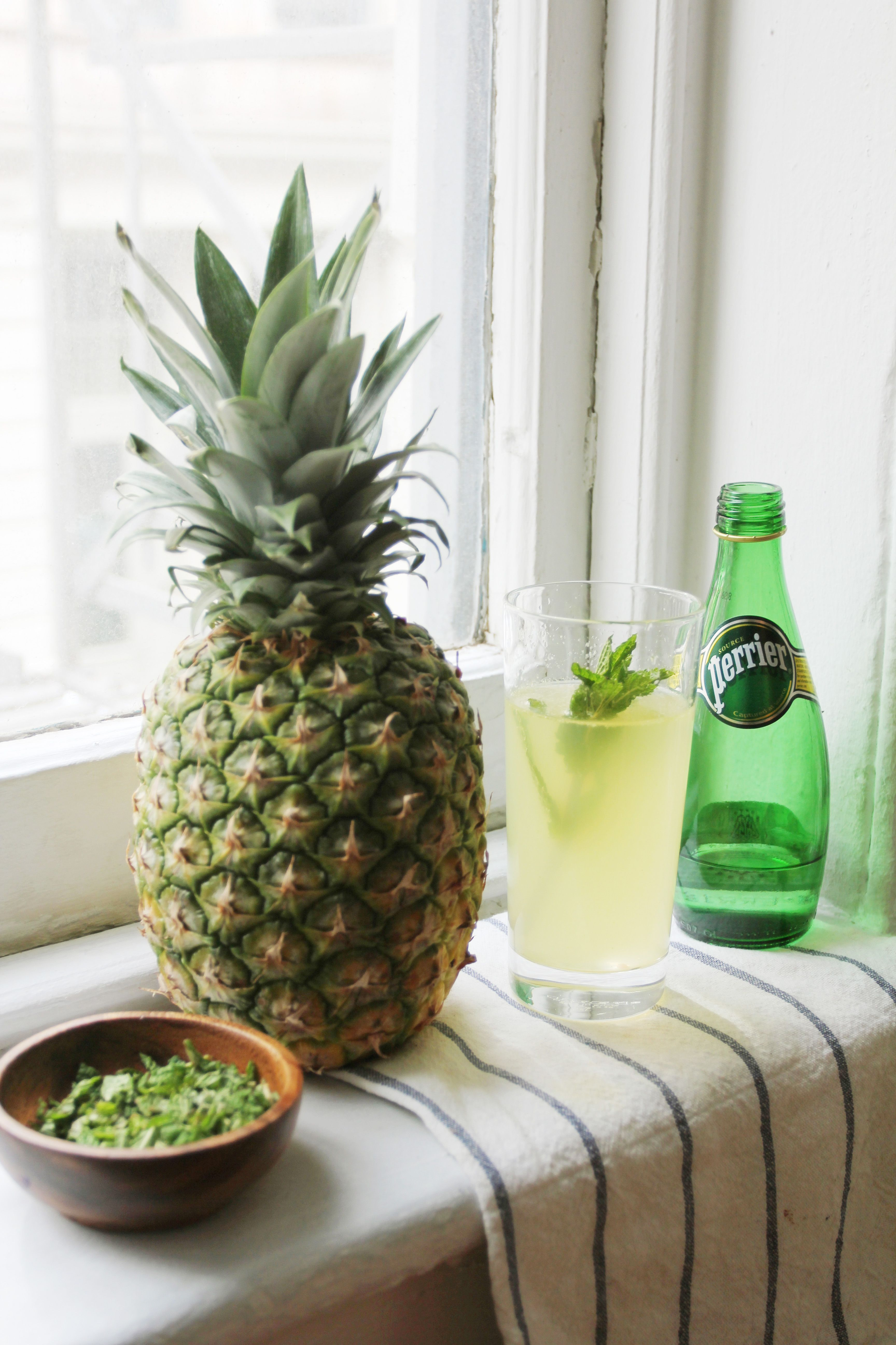 Perrier's iconic bubbles give fruit juices a kick. Try this pineapple mint mocktail, or add a dose of vodka, gin or rum to spice it up to cocktail level.   Ingredients: ½ of pineapple 2 cups Perrier ¼ cup fresh mint leaves  Directions: 1. Puree ½ pineapple in a blender or food processor. 2. Chop up fresh mint leaves 3. Mix together the pineapple & mint leave 4. Add 2 cup of CHILLED Perrier to the mixture 5. Stir and refrigerate if you'd like. 6. Enjoy!