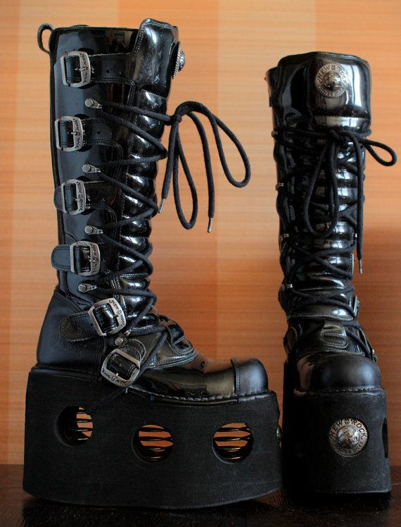 New Rock platform boots NEPTUNO 15cm high buckles springs black patent  chunky goth boots gothic lolita metal goth cyber newrocks