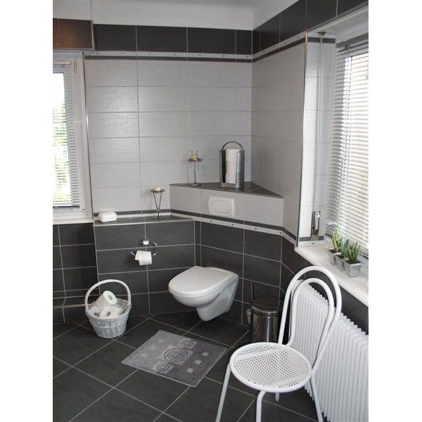 inspiration ambiance salle de bain gris et rouge   Salle de bain rdc ...