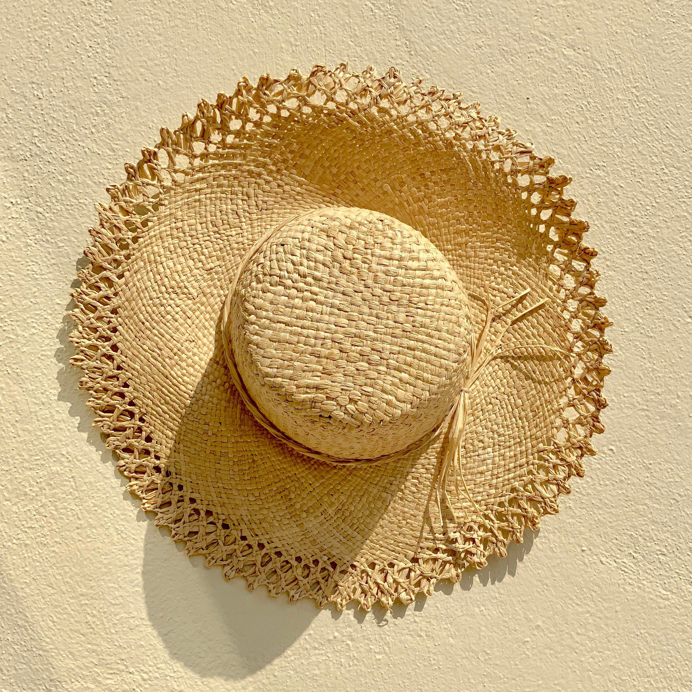 French Woven Edge Straw Hat Raffia Hat Sun Hat Beach Hat Etsy In 2020 Raffia Hat Straw Hat Beige Hat