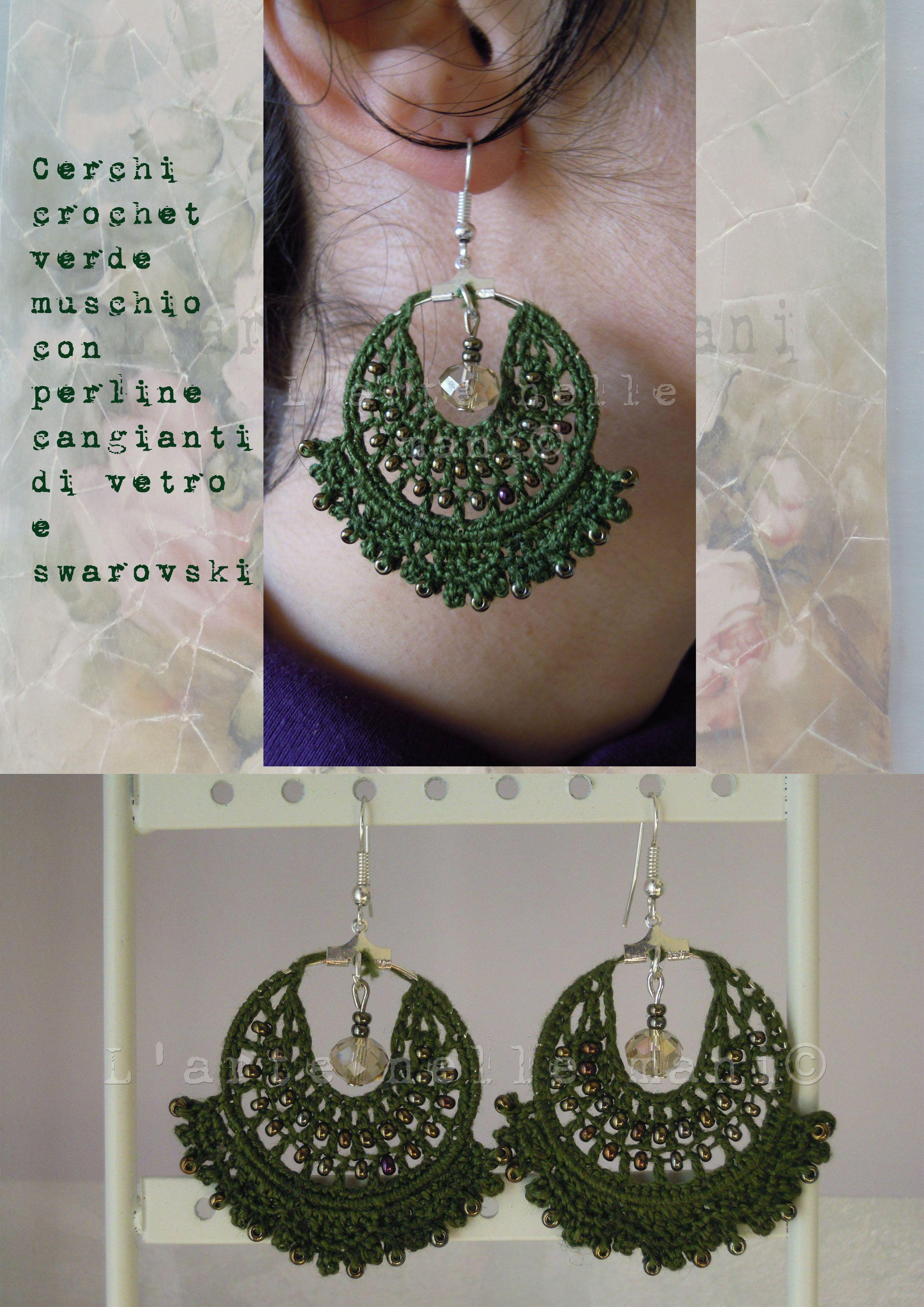 Orecchini a cerchio lavorazione a crochet in makò verde muschio, perline cangianti  e swarovski