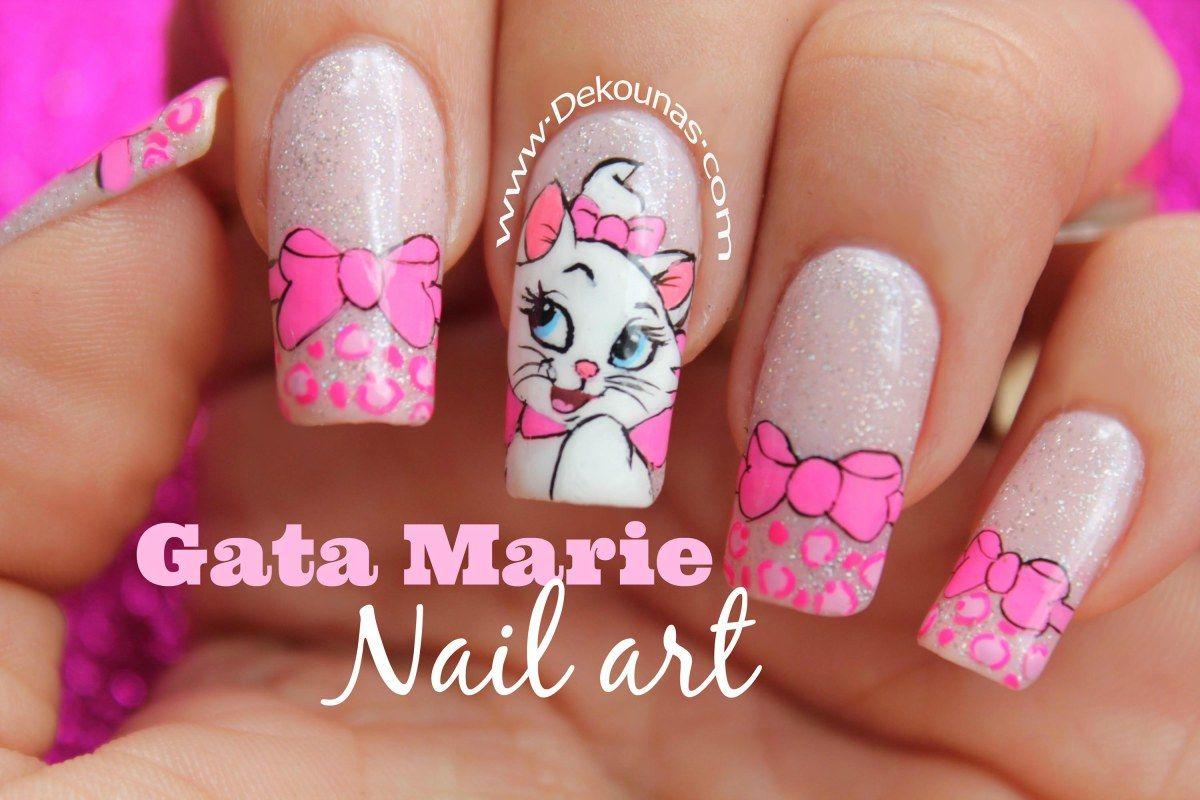Decoración de uñas gata Marie | Cursos de uñas acrílicas, Uñas ...