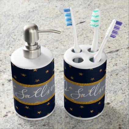 navy gold stars bathroom soap dispenser and toothbrush holder gold rh pinterest com Toothbrush and Soap Holder Combination Bathroom Soap and Toothbrush Holders