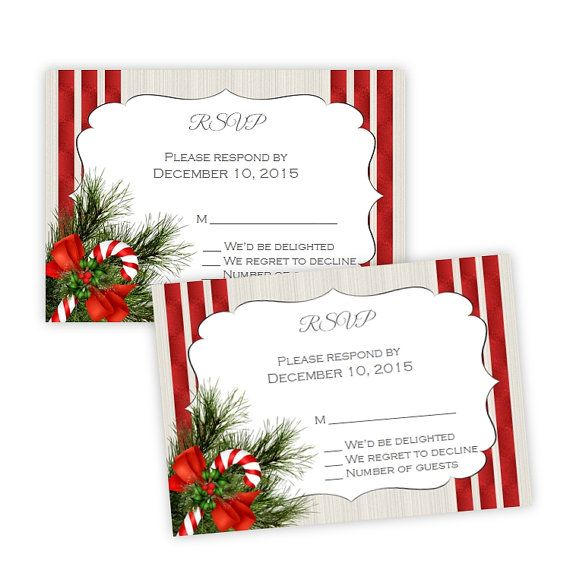 Wedding or Holiday Party RSVP Card Template - Candy Cane - DIY - party rsvp template