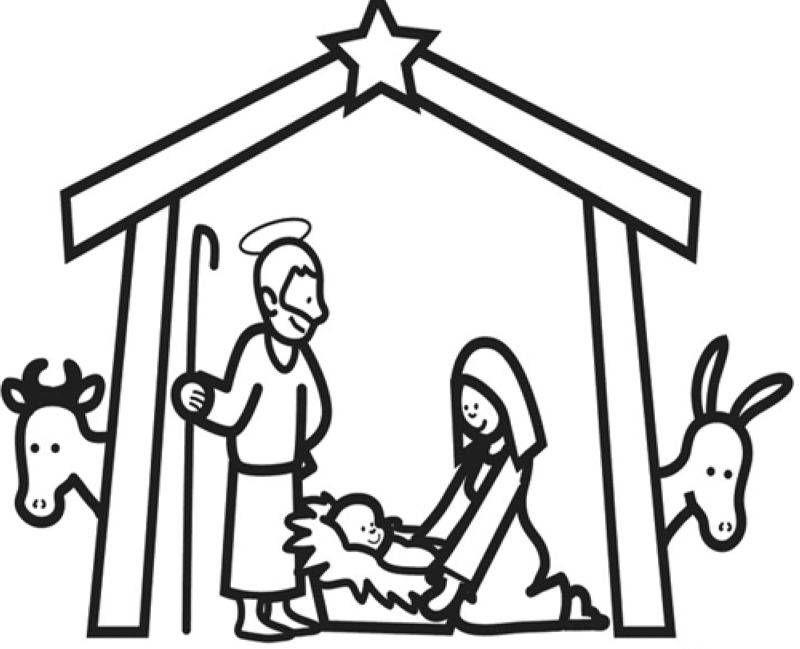 ausmalbild weihnachten im stall von bethlehem kostenlos