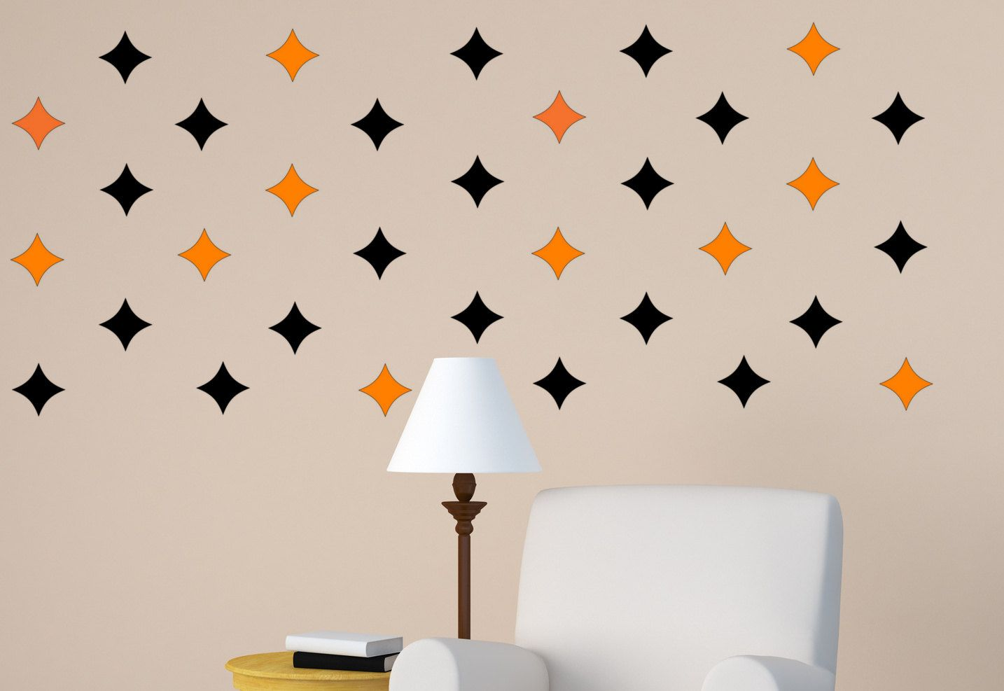 Star wall decal set of 50 diamond wall stickers home office & Star wall decal set of 50 diamond wall stickers home office ...