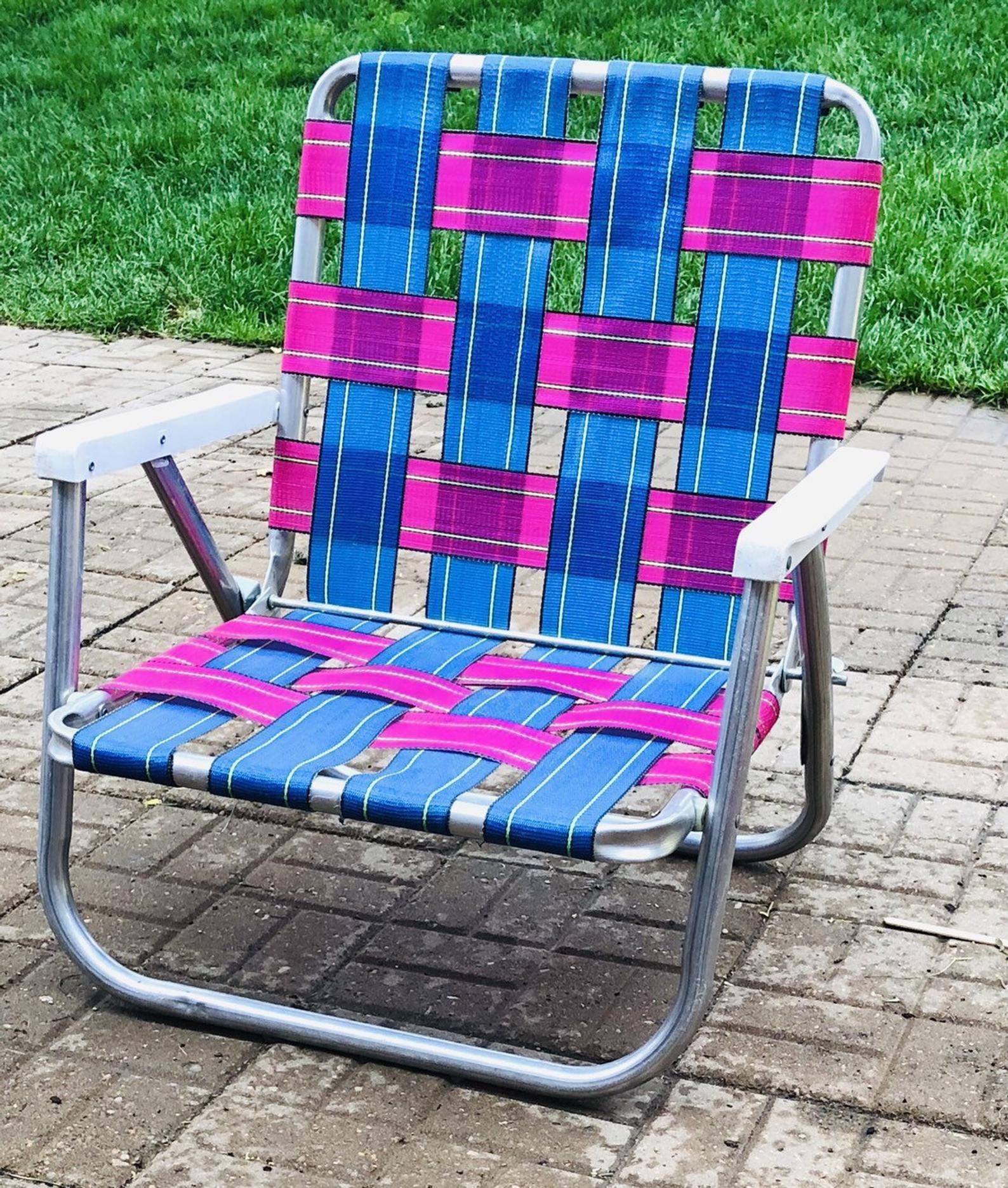 Vintage Aluminum Folding Chair Webbed Short Patio Lawn Chair