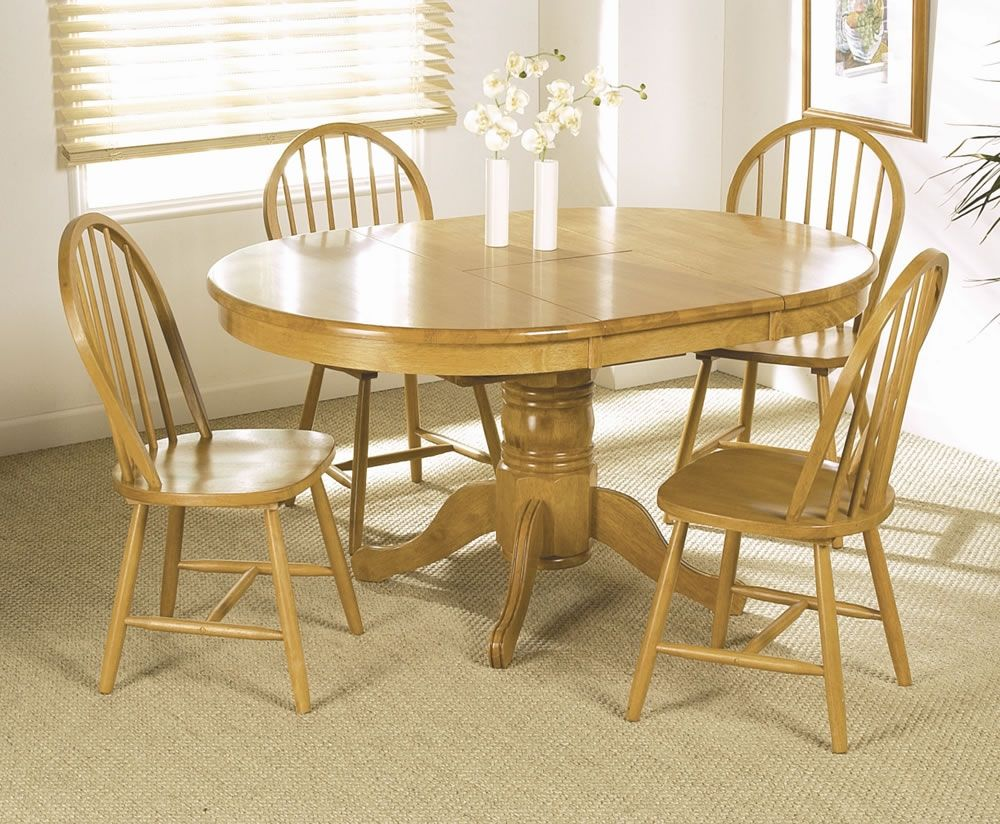 Round pine kitchen table and chairs