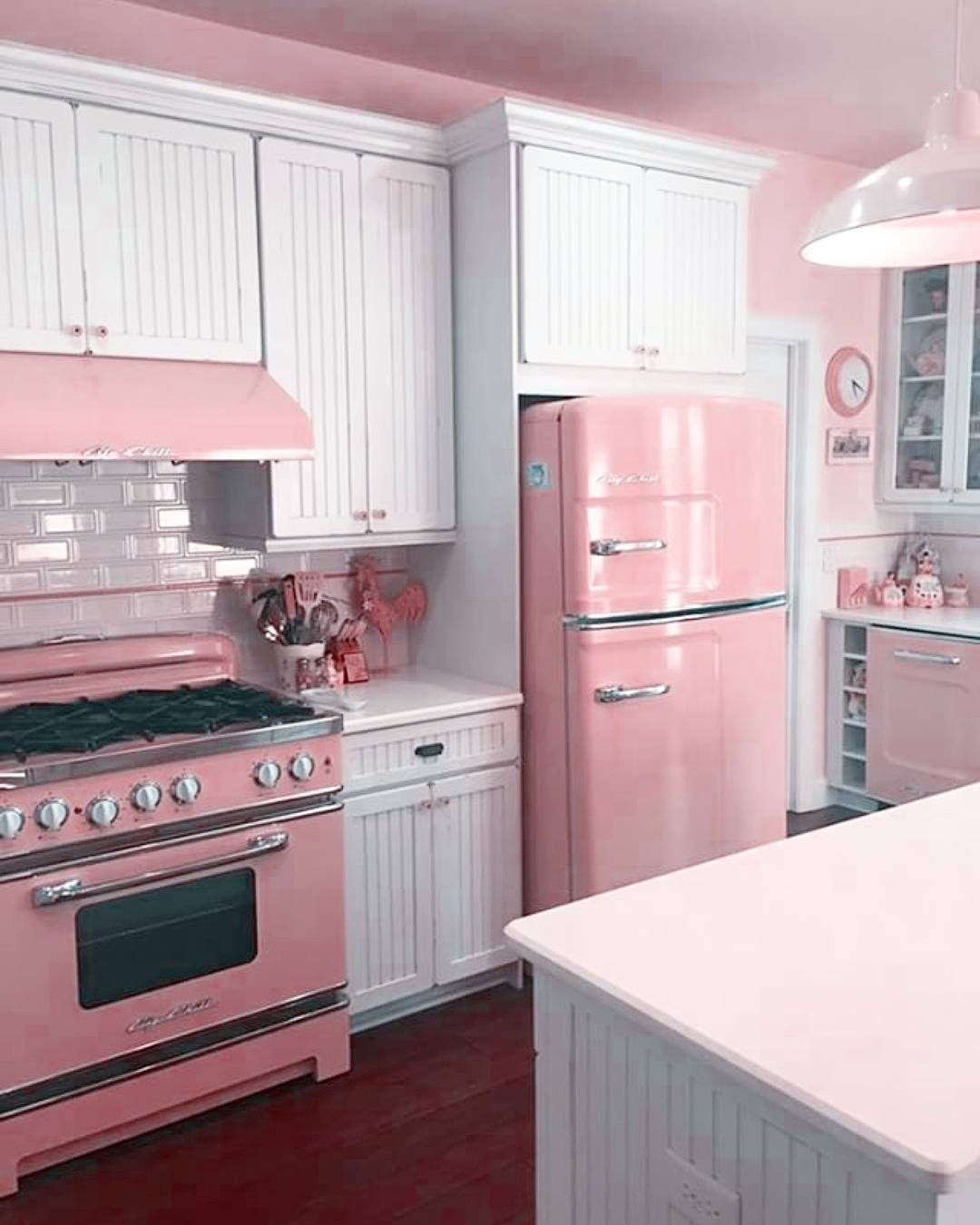 image may contain kitchen and indoor retro kitchen pink kitchen shabby chic kitchen on kitchen decor pink id=75457