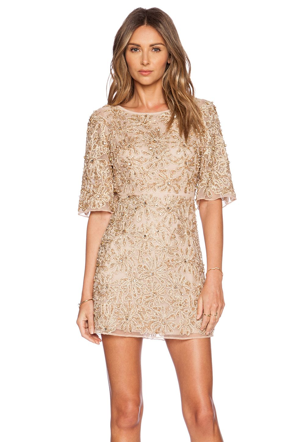 Alice and olivia cream lace dress