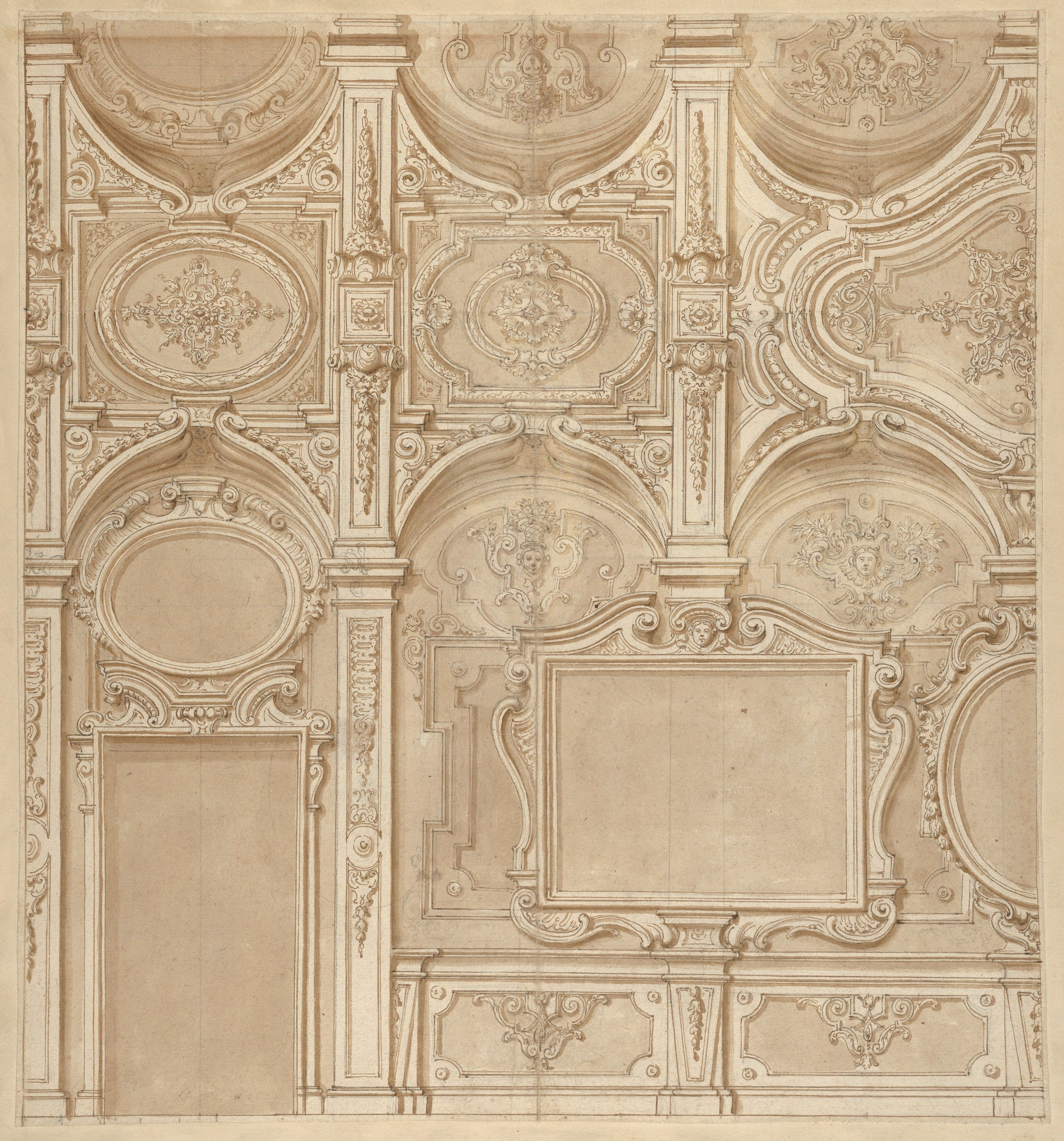 Anonymous, Italian, 18th century | Design for a Wall and Ceiling with Frames and Decorations in Stucco | The Metropolitan Museum of Art