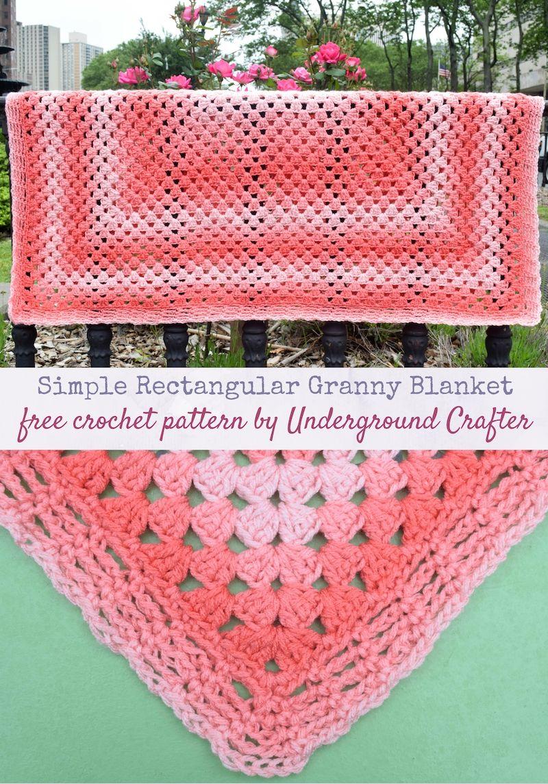 Simple Rectangular Granny Blanket Free Crochet Pattern In Red Heart