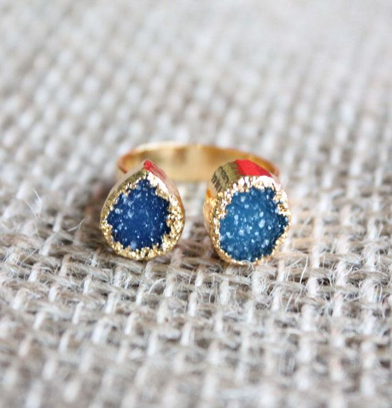 Double Raw Two-Tone Blue Druzy Geode Stones Ring with Gold Plated Edge and Adjustable Band size 8.5 and up