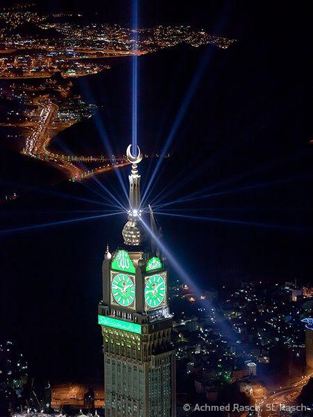 Mecca Clock Tower Mekah Gambar Malam