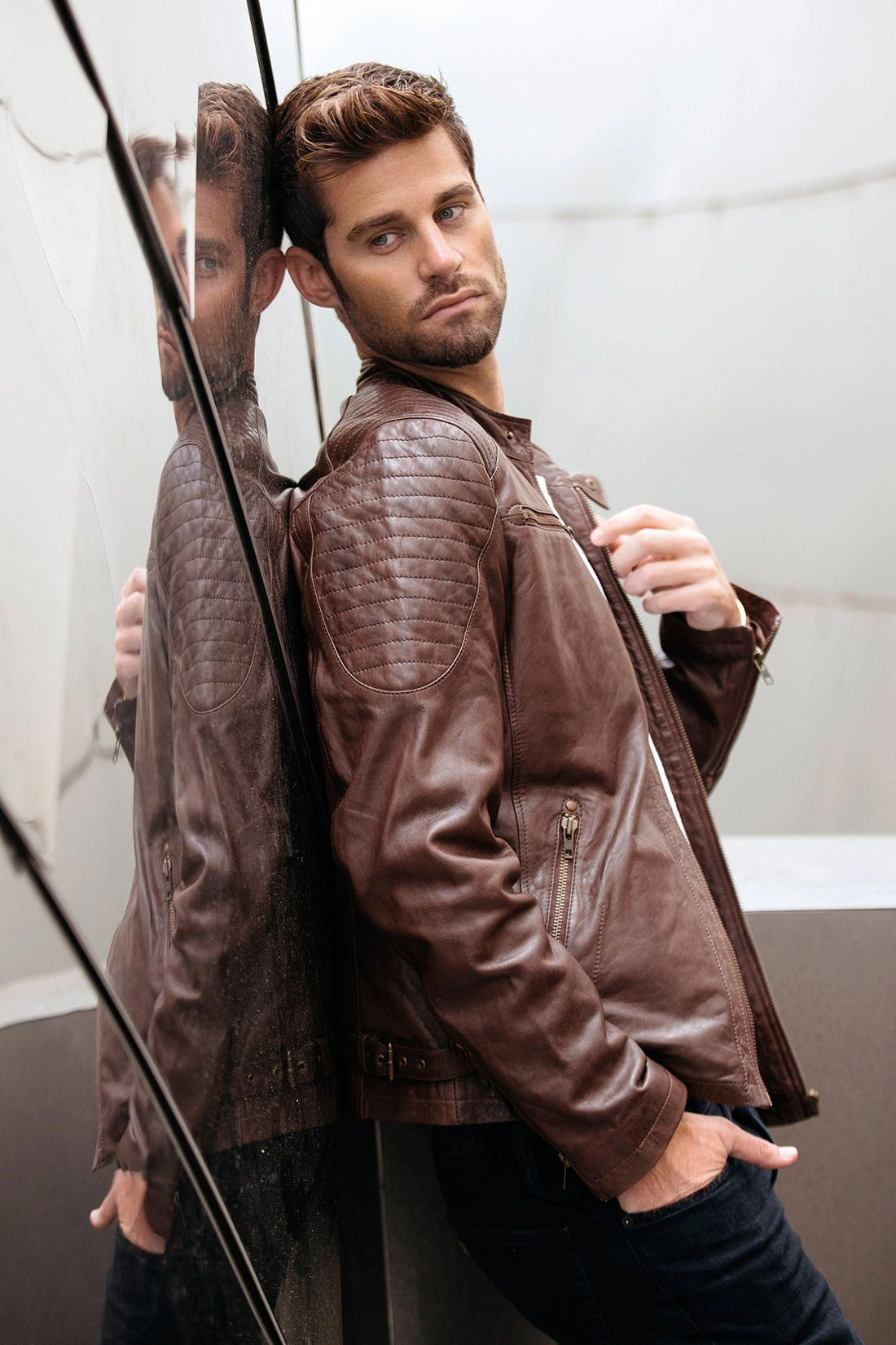 Cafe Racer Brown Leather Jacket Mens Genuine Leather