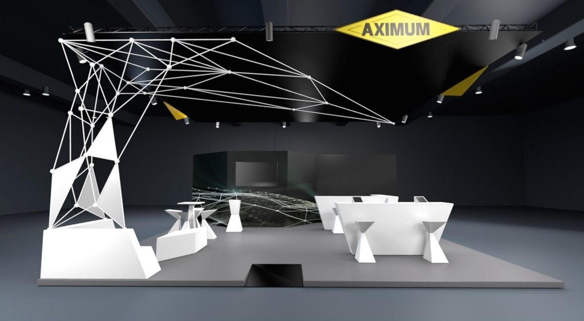Conception et design de stand pour aximum design espace design stand v nementiel design for Conception salon 3d