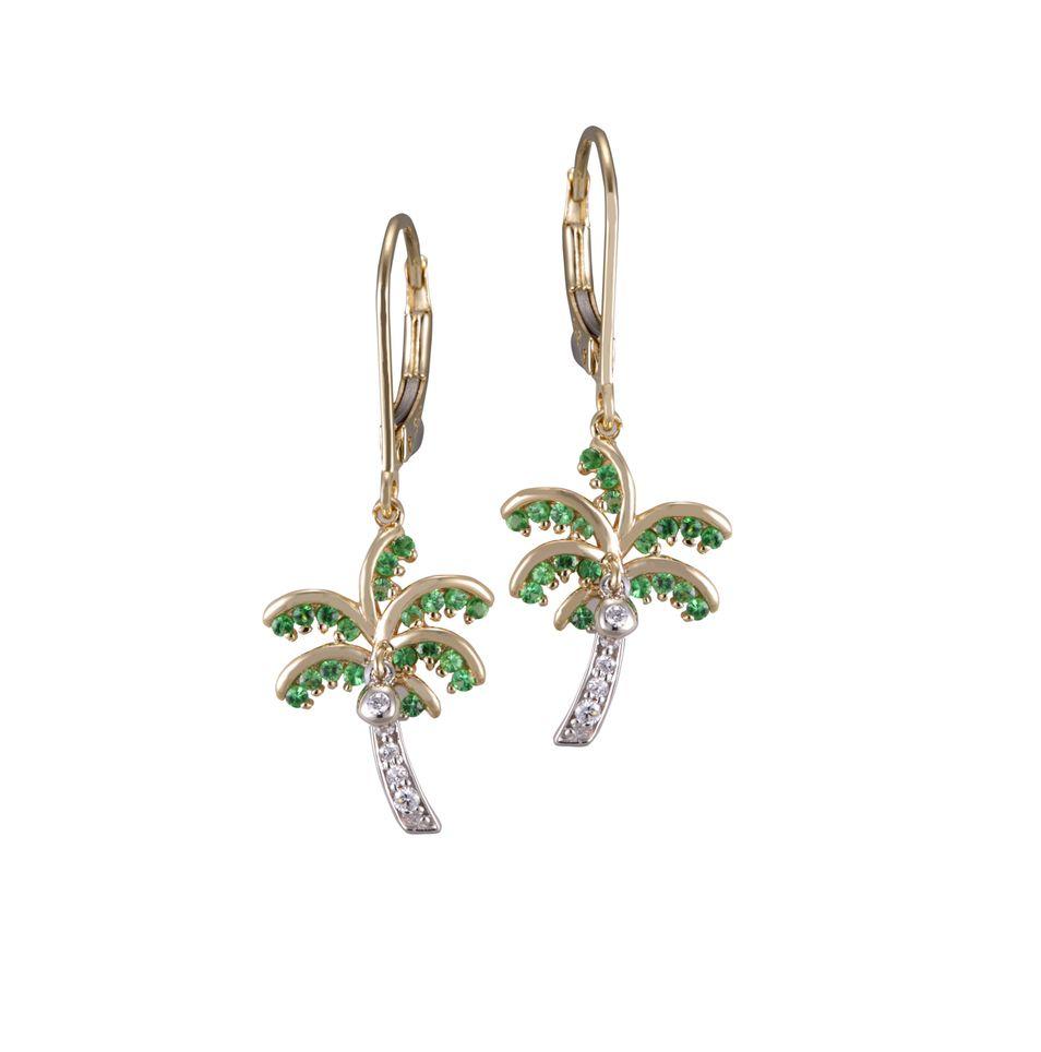 Denny Wong 14k Palm Tree Earrings With Tsavorite