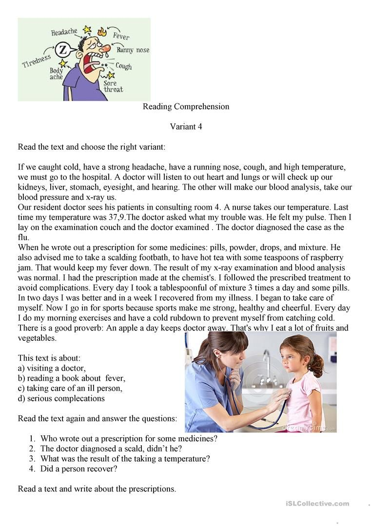 Visiting A Doctor English Esl Worksheets For Distance Learning And Physical Classrooms In 2021 Reading Comprehension Comprehension Exercises English Reading [ 1079 x 763 Pixel ]